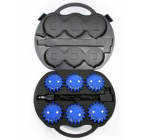 6 x Dysk sygnalizacyjny Mactronic (Niebieski) + walizka